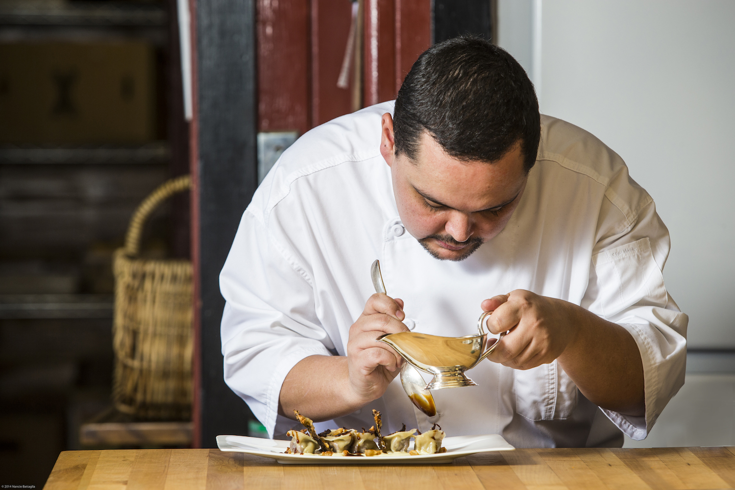 Executive Chef Loic Leperlier, food, scenes and kitchen activity at The Point, a resort on Upper Saranac Lake in the Adirondack Mountains of upstate NY. photo by Nancie Battaglia