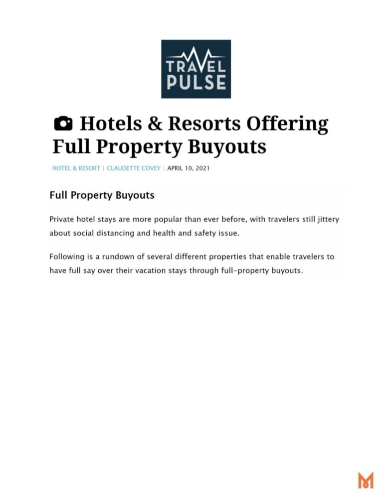 Travel Pulse Hotel & Resorts Offering Full Property Buyouts